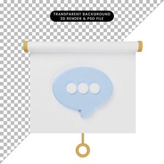 3d иллюстрация простой вид спереди доски презентации объекта с пузырем чата