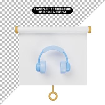3d иллюстрации простой объект презентационная доска вид спереди с гарнитурой
