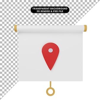 위치 아이콘이 있는 간단한 개체 프레젠테이션 보드 전면 보기의 3d 그림