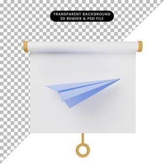 종이 비행기가 있는 간단한 개체 프레젠테이션 보드 전면 보기의 3d 그림