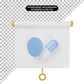 알약 태블릿이 있는 간단한 개체 프레젠테이션 보드 전면 보기의 3d 그림