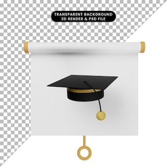 토가 모자가 있는 간단한 개체 프레젠테이션 보드 전면 보기의 3d 그림