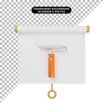 3d иллюстрация простой доски для презентации предметов, вид спереди с инструментом для росписи стен