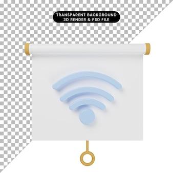 Трехмерная иллюстрация простой доски для презентации объектов, вид спереди с сетью wi-fi