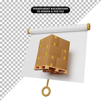 パレット上のボックスとわずかに傾斜したビューのシンプルなオブジェクトプレゼンテーションボードの3dイラスト