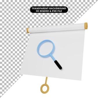 간단한 개체 프리젠테이션 보드의 3d 그림 확대경을 사용하여 약간 기울어진 보기
