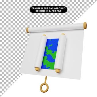 3d иллюстрация простой доски для презентации объектов, слегка наклоненный вид с картой