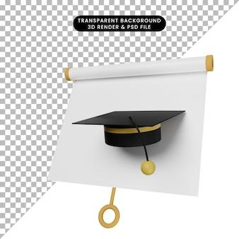 간단한 개체 프레젠테이션 보드의 3d 그림, 토가 모자가 있는 약간 기울어진 보기