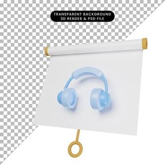 3d иллюстрация простой доски для презентации объектов, слегка наклоненной с гарнитурой