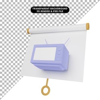 오래된 텔레비전으로 약간 기울어진 단순한 개체 프레젠테이션 보드의 3d 그림