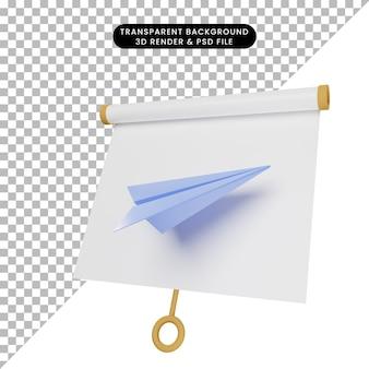 종이 비행기로 약간 기울어진 간단한 개체 프레젠테이션 보드의 3d 그림