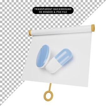 알약 태블릿으로 약간 기울어진 간단한 개체 프레젠테이션 보드의 3d 그림