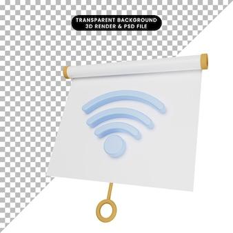 3d иллюстрация простой доски для презентации объектов, слегка наклоненной с сетью значков wi-fi