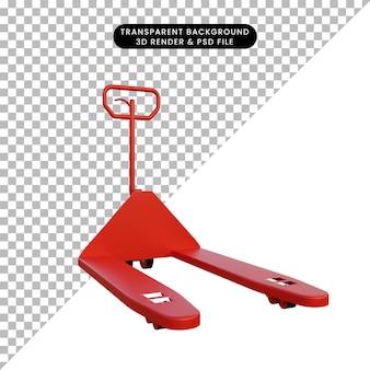 シンプルな赤いハンドリフトの3dイラスト