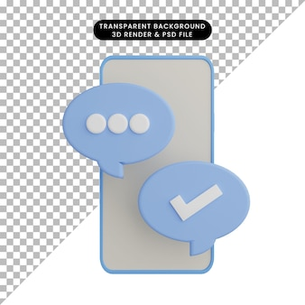채팅 아이콘으로 스마트 폰의 3d 그림