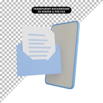 3d иллюстрации смартфона с открытым письмом