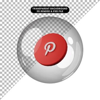 소셜 미디어 아이콘 pinterest의 3d 일러스트