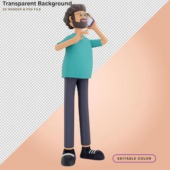 3d иллюстрации стоящего счастливого человека, говорящего по телефону