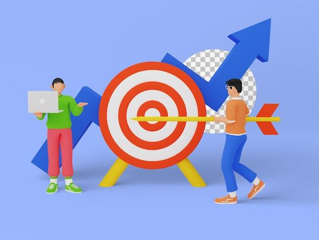 ターゲットの目標を達成するためのチームディスカッションを伴うターゲットビジネスプランの3dイラスト