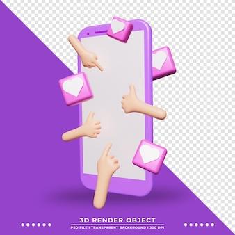 하트 아이콘 장식으로 장식된 터치 스크린 스마트폰의 3d 그림. 기술 그림입니다. 3d 렌더링.