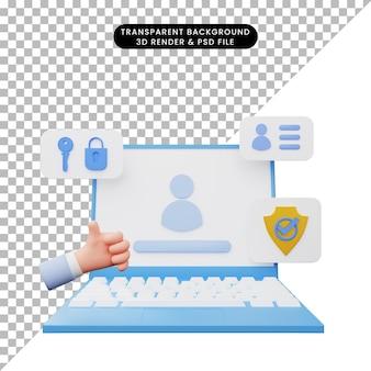 노트북에 사용자 인터페이스의 3d 그림