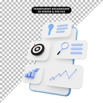 3d иллюстрации пользовательского интерфейса на смартфоне