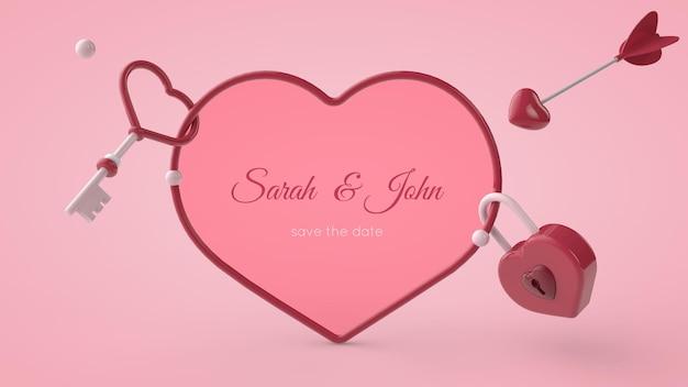 バレンタインデーのグリーティングカードのモックアップの3dイラスト