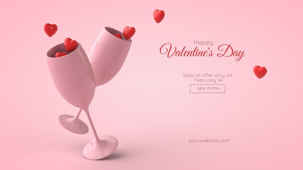 3d иллюстрации макета открытки ко дню святого валентина