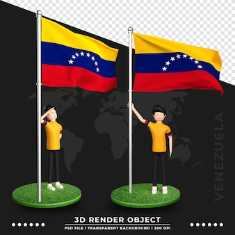 귀여운 사람들이 만화 캐릭터와 함께 베네수엘라 국기의 3d 그림. 3d 렌더링.