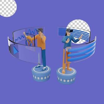 가상 현실 헤드셋 개념의 3d 그림