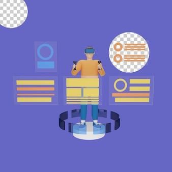 バーチャルリアリティヘッドセットの概念の3dイラスト