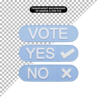 체크리스트 표시 및 크로스 마크가있는 투표 예 또는 아니오의 3d 일러스트