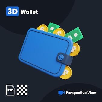 3d-иллюстрация кошелька для цели с перспективой
