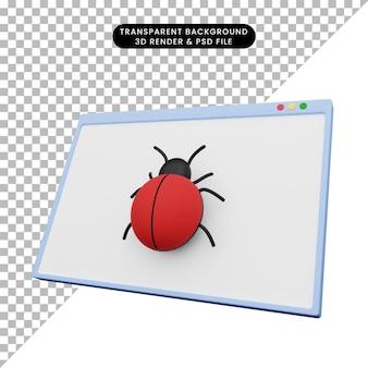 버그와 웹 그림의 3d 그림