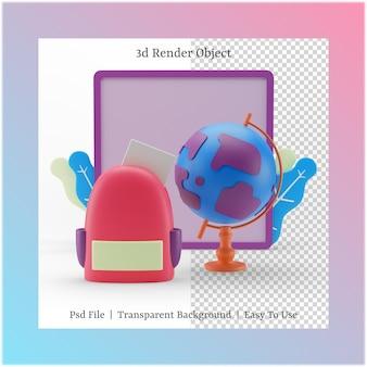 3d иллюстрации доски и сумки с концепцией обратно в школу