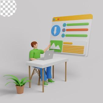 3dイラスト。サーバーまたはコンピューター上のデータストレージとファイルアーカイブを整理するサラリーマン