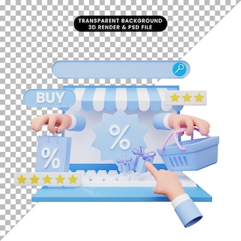 3d illustration of online shop on laptop