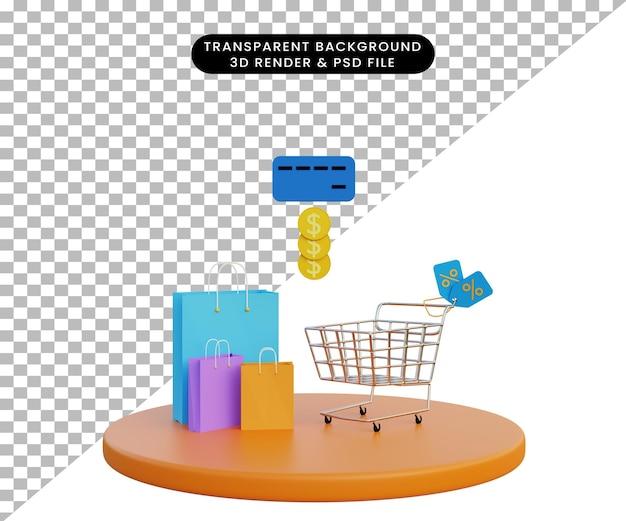 3d illustration online shop