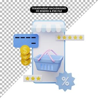 3d illustration of online shop