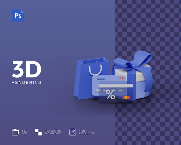 3d illustration, online shopping, credit card payment