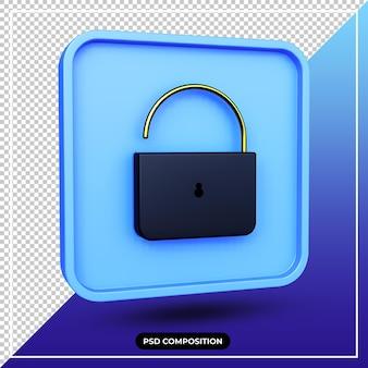 3d illustration padlock icon