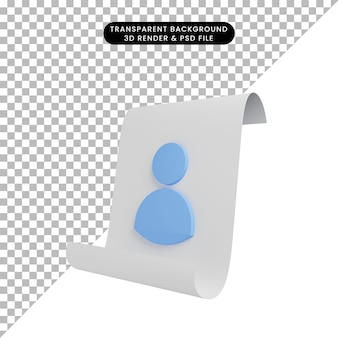 3d иллюстрации бумаги с иконой людей