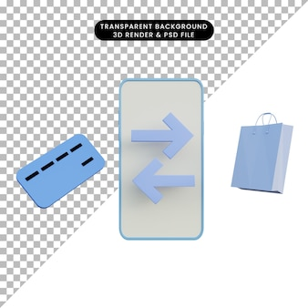 3 d イラスト クレジット カードとショッピング バッグとスマートフォンでオンラインで支払い