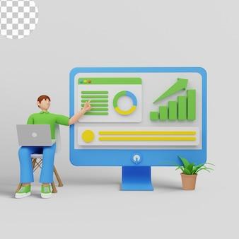 3d иллюстрации. люди, анализирующие графики роста
