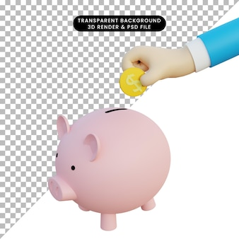 3d illustration of piggy bank and 3d hand holding coin