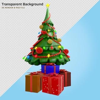 3d 일러스트 소나무와 선물 상자