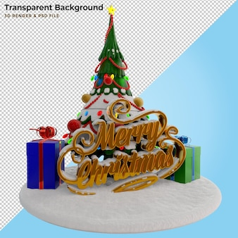 3d illustration pine tree and christmas text