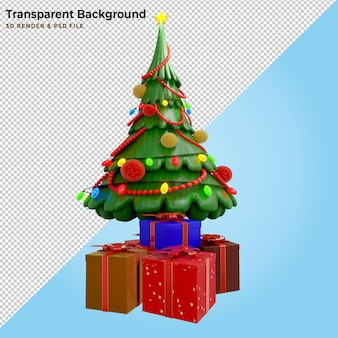 3d illustration pine tree and gift box
