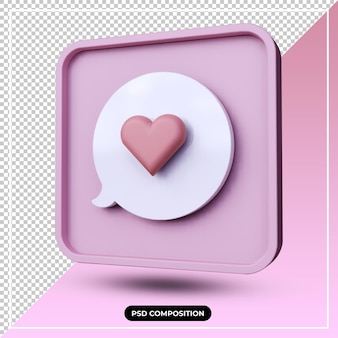 3d illustration of pink chat love icon