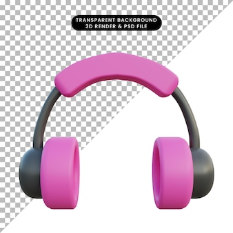 3d illustration of pink headset object